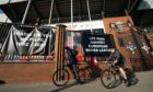 Banners were hung outside Anfield protesting the proposals to launch a European Super League.
