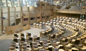 The debating chamber at Holyrood.