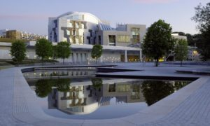 The Scottish Parliament building in Edinburgh.