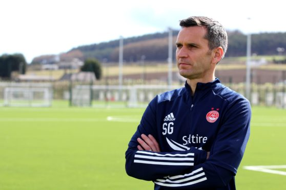 New manager Stephen Glass on his first day at Aberdeen.