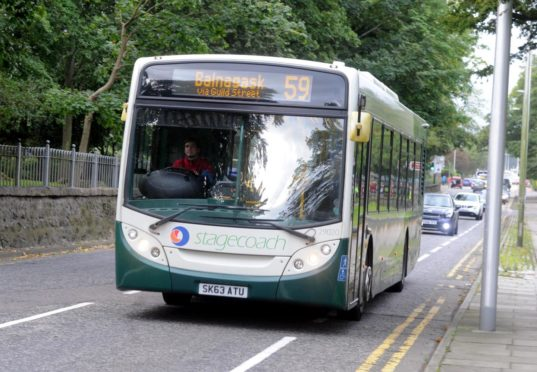 To go with story by Annie Butterworth. Stagecoach bus service number 59, Westburn Road Aberdeen.  Picture by Chris Sumner  Taken 23/10/16 Picture shows; Stagecoach 59. Aberdeen. Supplied by Chris Summer Date; 230/11/2016