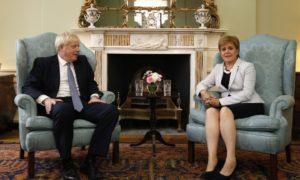 Boris Johnson and Nicola Sturgeon at Bute House in Edinburgh