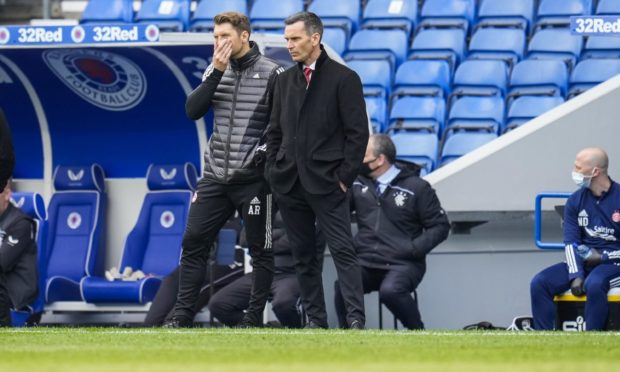 """EDITORIAL USE ONLY No use with unauthorised audio, video, data, fixture lists, club/league logos or """"live"""" services. Online in-match use limited to 120 images, no video emulation. No use in betting, games or single club/league/player publications. Aberdeen manager Stephen Glass and coach Allan Russell."""