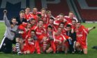 The victorious Aberdeen team celebrate after defeating Celtic 2-0 in the 2001 Scottish Youth Cup final
