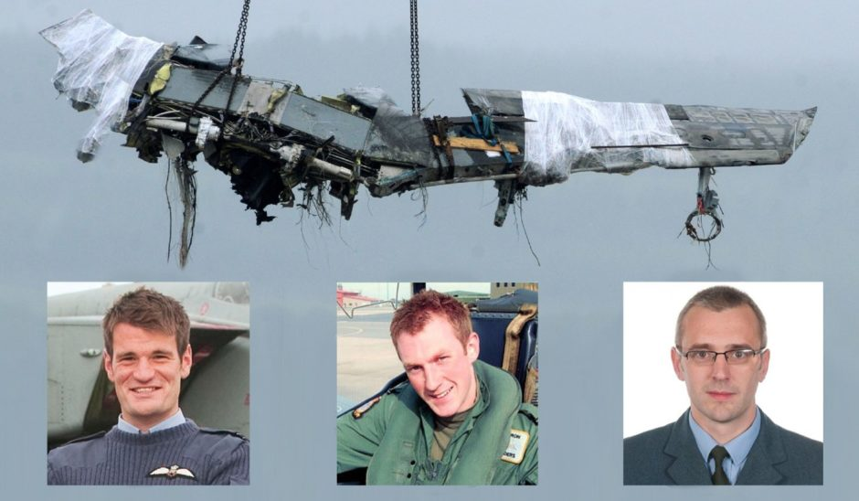 ## INSET ## Flight Lieutenant Hywel Poole (left), Flight Lieutenant Adam Sanders (centre) and Squadron Leader Samuel Bailey (right) who were killed after a Tornado crash in the Moray Firth.      Photograph by Sandy McCook, Inverness 18th July '12 The Far Saphiere docked in Invergordon yesterday to discharge the wreckage of the two crashed RAF Tornado aircraft from the Moray Firth. A large section of wing of one of th aircraft is lifted from the nship before being placed on a 'Queen Mary' transporter.