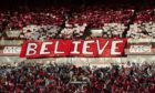 The Aberdeen fans display a banner ahead of kick off against HNK Rijeka in the Europa League in 2019.
