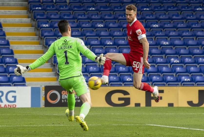 Marley Watkins finds the net for Aberdeen against Ross County.