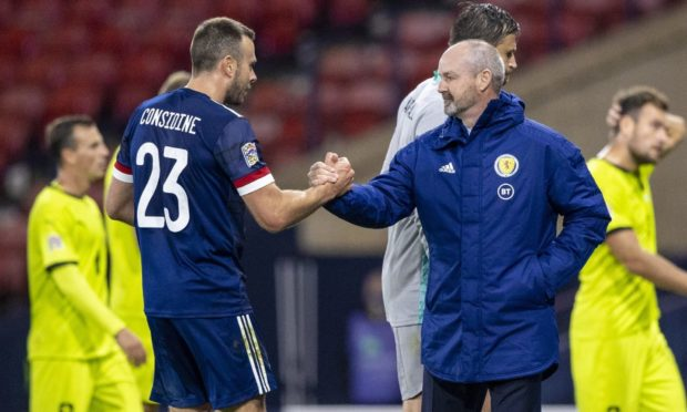 Scotland manager Steve Clarke (right) with Andy Considine.