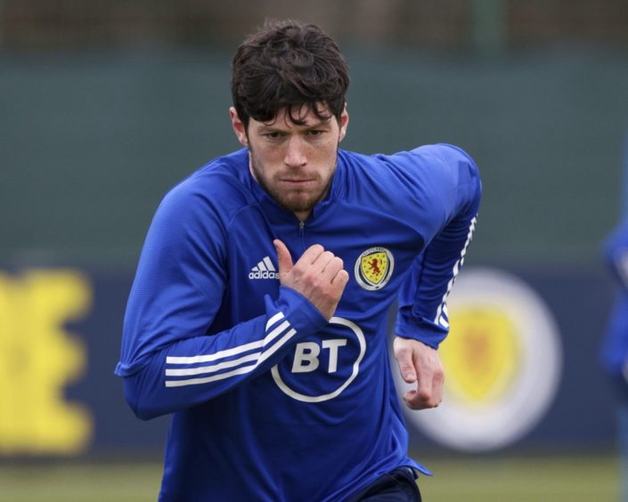 Scotland's Scott McKenna during a Scotland training session.