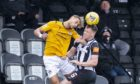 Edinburgh's Ouzy See (L) and Elgin's Angus Mailer during the Scottish League One play-off semi-final. Picture by Roddy Scott/SNS Group
