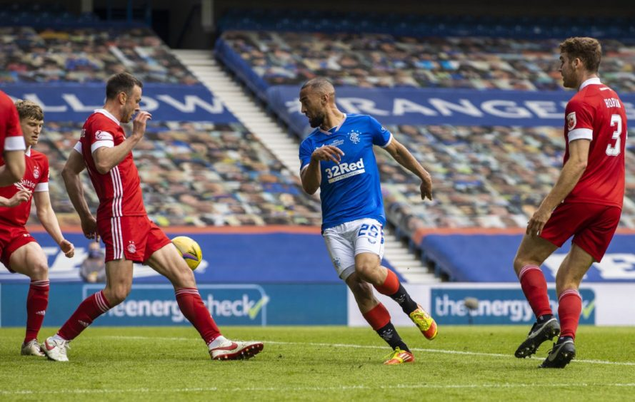 Kemar Roofe makes it 2-0 during the Scottish Premiership match between Rangers and Aberdeen.