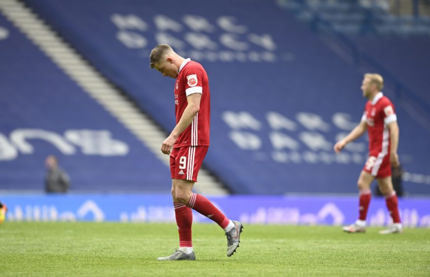 Aberdeen's Callum Hendry looks dejected during the Rangers' game.
