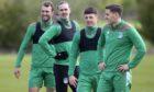 Christian Doidge, Jackson Irvine, Daniel Mackay and Paul Hanlon during Hibernian training this month.