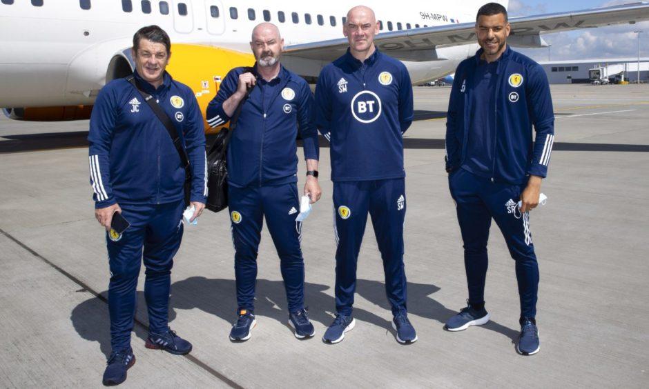 Scotland national team coaches John Carver, Steve Clarke, Stevie Woods and Steven Reid.