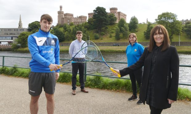 Back-row, left to right: Allan McKay (Head of Competitions at Scottish Squash), Ailsa Polworth (Inverness Tennis & Squash Club Manager). Front: Alasdair Prott (Inverness squash player), Joyce Hadden (Springfield Properties Rep)