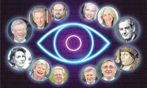 Clockwise, from left to right: Sir Alex Ferguson, Denis Law, Stuart MacBride, Annie Lennox, Dame Evelyn Glennie, Dugald Baird, Bishop William Elphinstone, the Scotland The What? group, Annie Inglis and May Baird