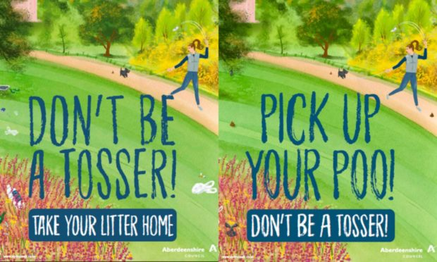Aberdeenshire Council 's'don't be a tosser' campaign posters