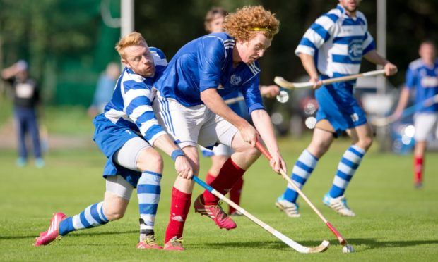 Newtonmore's Paul Macartur, left, hit a hat-trick during Saturday's friendly against Glen Urquhart.