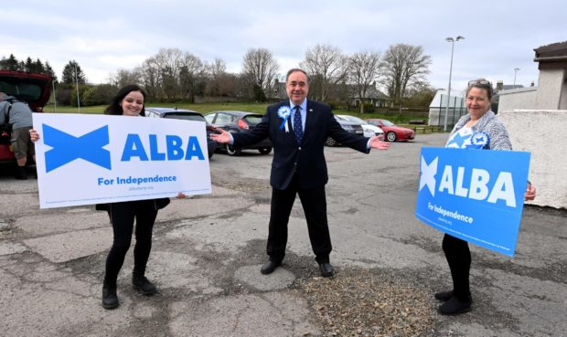 Alex Salmond, leader of the Alba Party, casts his vote at Ritchie Hall, Strichen. Pic by Chris Sumner  Taken...............6/5/2021