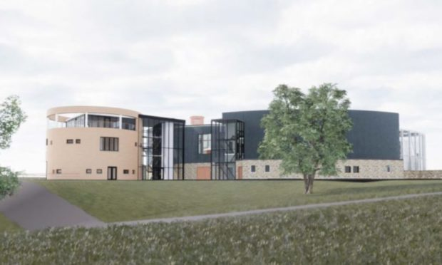 An artist's impression of The Cairn Distillery, which is taking shape near Grantown.