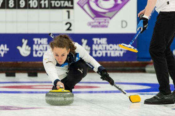 Jen Dodds and Bruce Mouat in action for Scotland on the first day of the 2021 World Mixed Doubles Curling Championship being held at Curl Aberdeen World Mixed Doubles Curling Championships 2021, Aberdeen Scotland