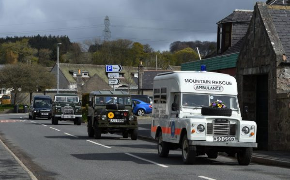 The funeral of David Millar, who has died aged 67 of cancer. In life he was a trustee of the Grampian Transport Museum, and one of wishes was for his coffin to be transported to his funeral service in a Land Rover. Photo by Kenny Elrick