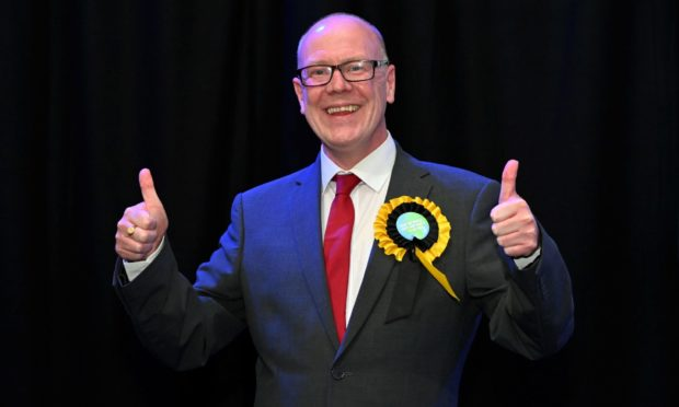 Kevin Stewart was all smiles after his re-election in Aberdeen Central this evening.