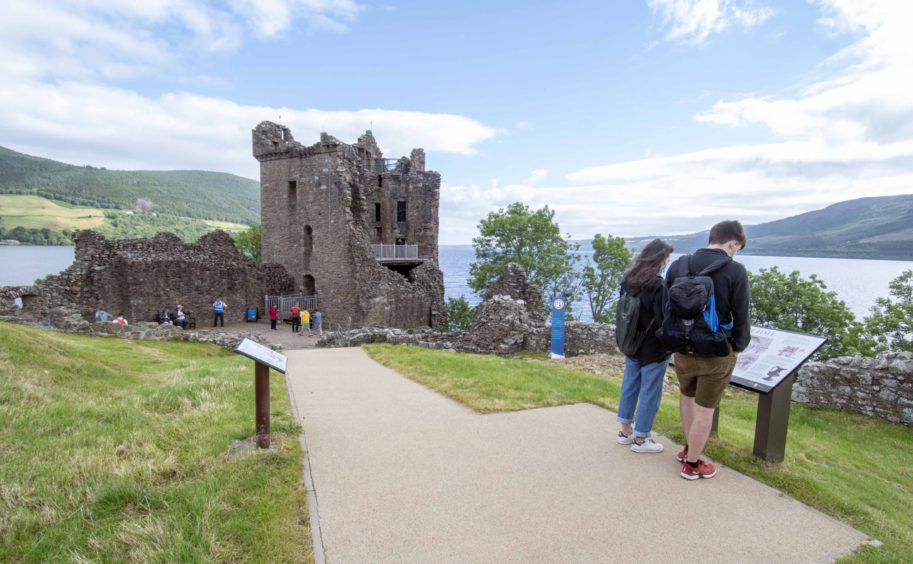 Urquhart Castle on the shores of Loch Ness