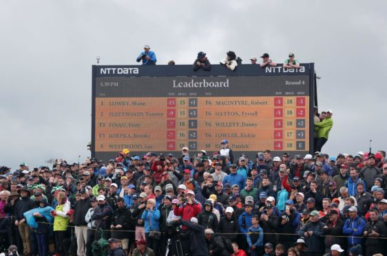 Crowds at the 2019 Open at Royal Portrush. The R&A hopes to have three-quarter capacity at Sandwich in July.