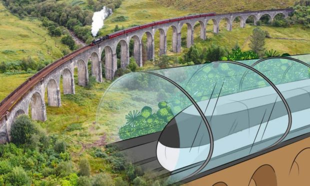 Glenfinnan Viaduct merged with a concept of the route reimagined and redesigned as if it was built in 2021.