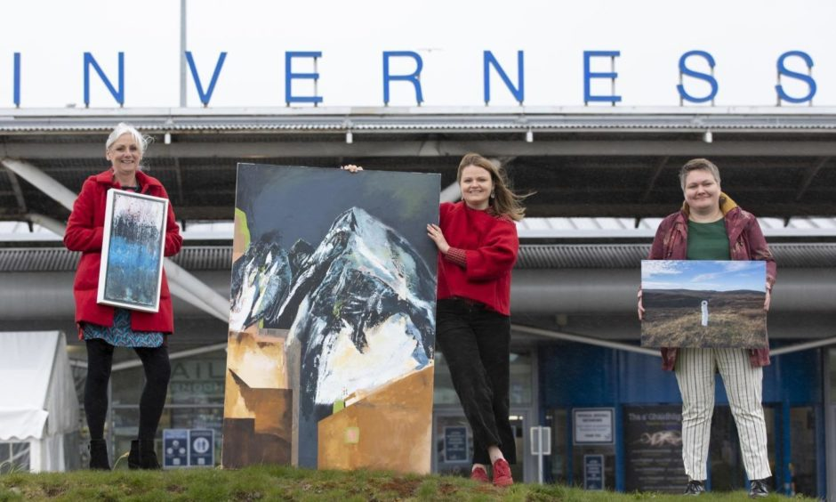 Highland Creatives artists Louise Innes, left, Yelena Visemirska and Evija Laivina showcase their work at Inverness Airport. Photograph by Martin Shields Photography.