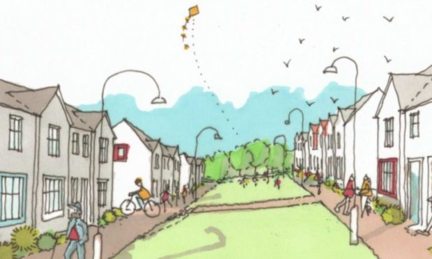 An early sketch of the housing plans at Stationfields, east of Falkland Avenue in Cove Bay.