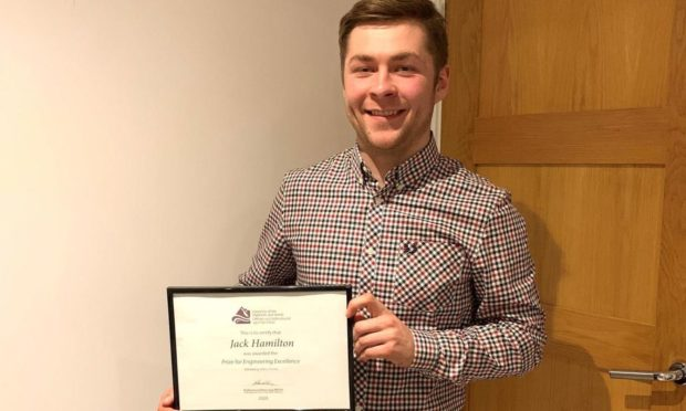 Jack Hamilton was presented with UHI's Prize for Engineering Excellence.