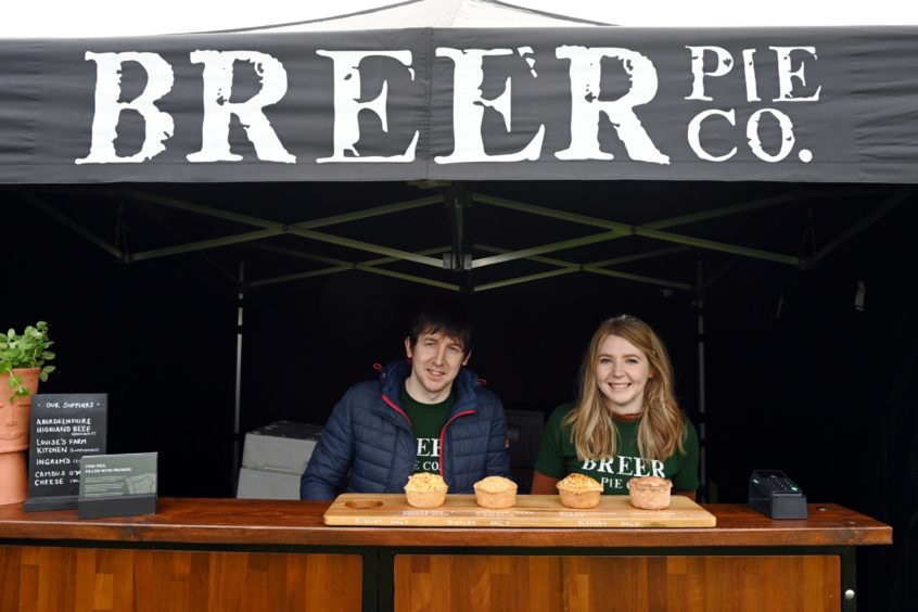 CR0028341 Food and Drink - Chapelton farmers' market at Burgess Park, Chapelton, Aberdeenshire. Picture of Breer Pie co - Dale Barbour and sister Jodie barbour.  Picture by Kenny Elrick     23//2021