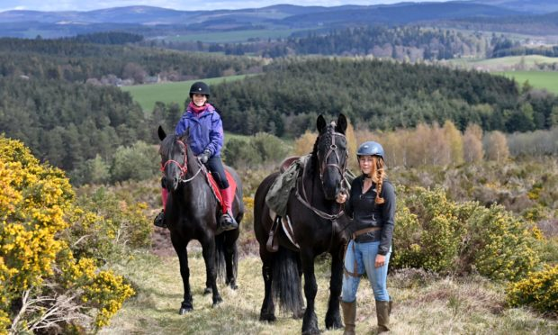 Gayle Ritchie goes for a trek with Highlands Unbridled, a new trail riding centre near Aboyne. The picture shows Gayle on her horse Brooke and Dominique Mills on Breagha heading into the hills.