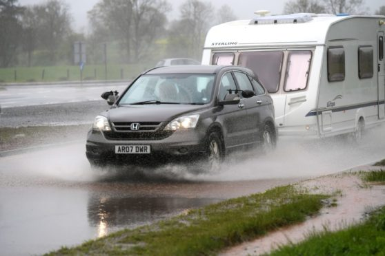 Flooding on the A90 Southbound near Laurencekirk.  Picture by KATH FLANNERY