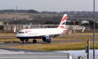 A British Airways flight froom London Heathrow arrives at Aberdeen International Airport.
