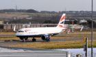 A British Airways flight froom London Heathrow arrives at Aberdeen International Airport.