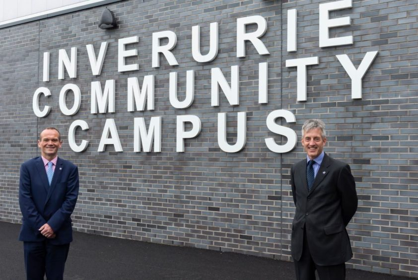 Laurence Findlay with Aberdeenshire Council chief executive Jim Savege.