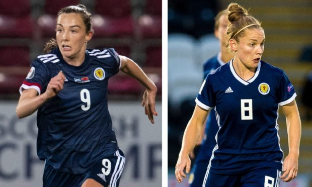Kim Little, right, and Caroline Weir have been called up to the Team GB squad for Tokyo
