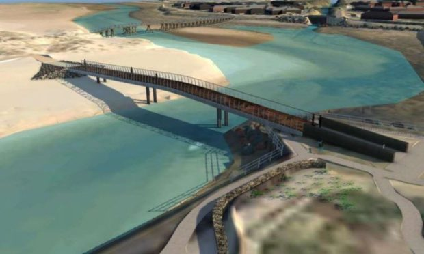 An artist impression of the proposed new East Beach bridge in Lossiemouth.