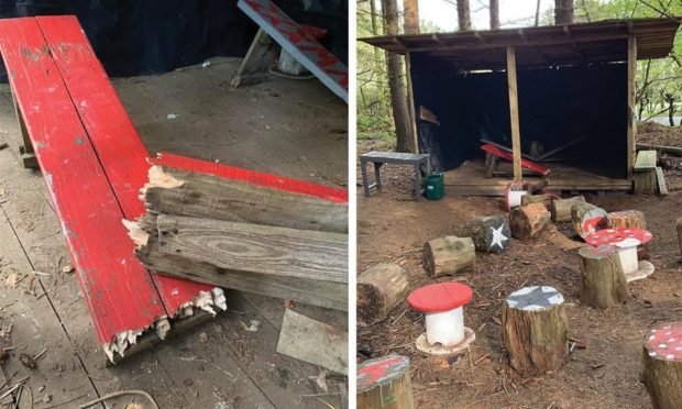 Play equipment at the Fairy Woods at Aden Country Park was destroyed.
