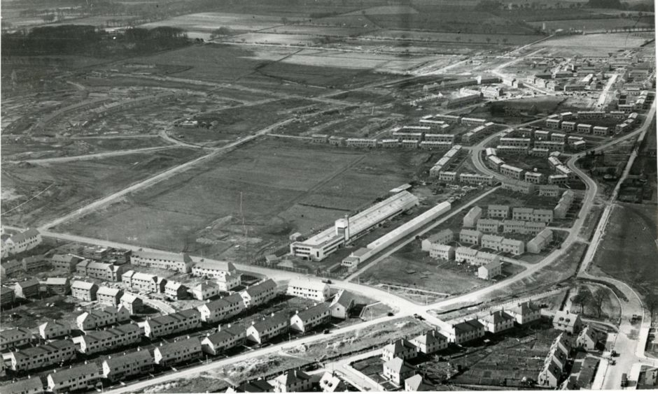 An aerial view of Northfield under construction in 1949.
