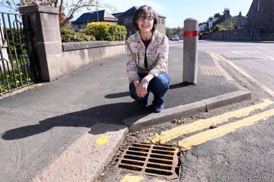 Councillor Sarah Dickinson with some of the fish decorated drains on Arduthie Road, Stonehaven. Pictured by Darrell Benns