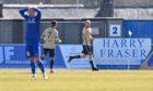 Scott Shepherd, right, celebrates scoring the second Forfar goal against Peterhead
