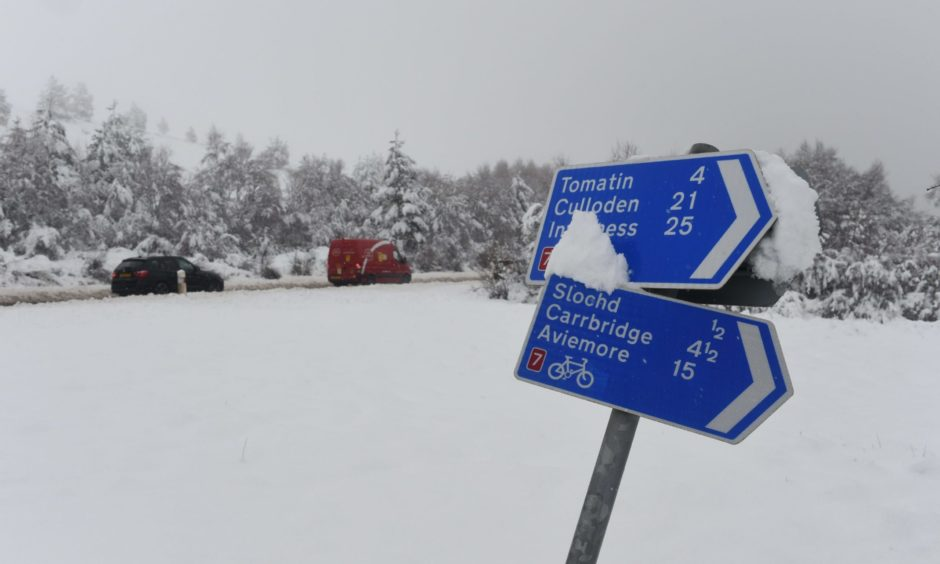 Snow on the A9 today Thursday May 6. Picture by Sandy McCook.