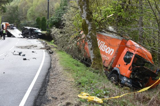 Crash on the A82 near Invermoriston, Lorry and Transit van.