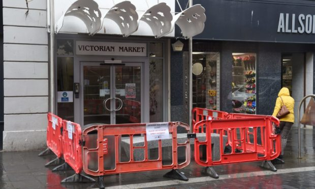 A cordon remains in place around the Union Street entrance of the Inverness Victorian Market.