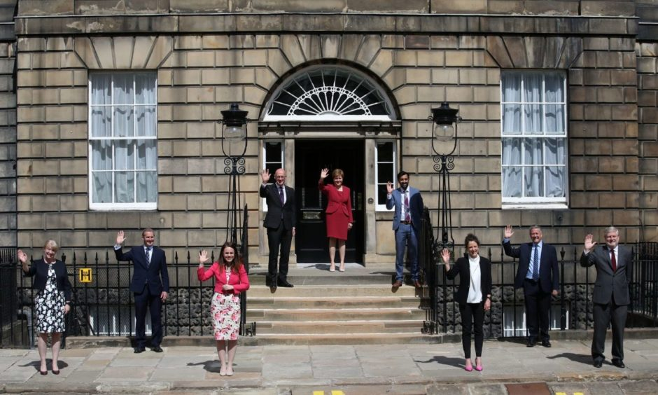 Nicola Sturgeon alongside her newly formed Cabinet outside Bute House.