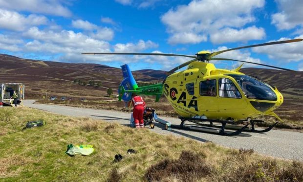 Scottish Charity Air Ambulance airlifted an injured motorcyclist to Aberdeen Royal Infirmary earlier today